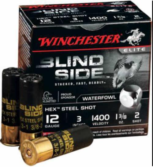 """Winchester Blindside 12 Gauge Ammo 3"""" Shell #3 Shot 1 1/8Oz 25 Rounds Md:SBS123HV3"""
