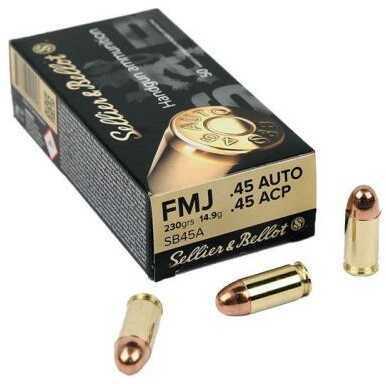 sellier bellot 45 auto 230 grain fmj 50 bx 50 rounds per box ammunition 45 acp pistol. Black Bedroom Furniture Sets. Home Design Ideas