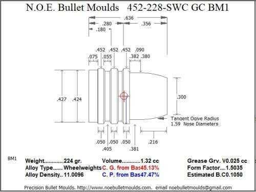 Bullet Mold 4 Cavity Aluminum .452 caliber Gas Check 228gr bullet with a Semiwadcutter profile type. A light Semi-wadcut