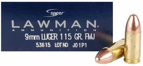 Speer Ammo Lawman 9mm Luger 115 Grains Total Metal Jacket 50 Box
