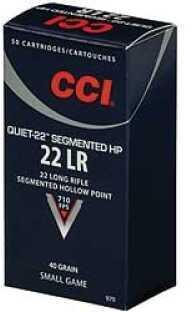 CCI 22 Long Rifle By CCI Quiet 22 40 Gr Segmented HP (Per 50) Md: 970