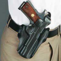 Desantis 1Cl Scabbard (Cocked & Locked) Belt Holster Right Hand Black Colt Officer, Para P10/12 Leather 1ClBA79Z0