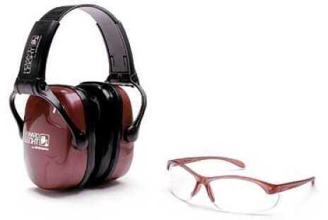 Howard Leight Shooting Combo Kit Earmuff Dusty Rose Ultra Light NRR 25 Muffs Anti-fog Clear Glasses R-01727
