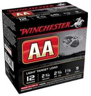 Winchester AA Light Target 12 Gauge 2.75'' 1-1/8 Oz. #9 25/Bx (25 rounds Per Box)