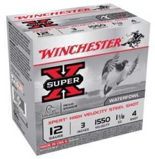 """Winchester Ammunition Xpert HI-Velocity Steel 12 Gauge 3"""" #4 1 1/8 oz. 25 Round Box WEX1234"""