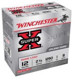 """Winchester Ammunition Super-X 12 Gauge 2.75"""" #8 3.25 Dram 1.125 oz. Shotshell 25 Round Box XU128"""