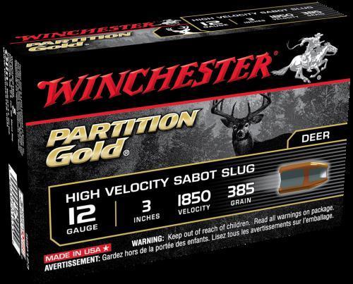 """Supreme Partition Gold Sabot Slugs By Winchester 12 Gauge 3"""" 385Gr. Per 5 Ammunition Md: SSP123"""