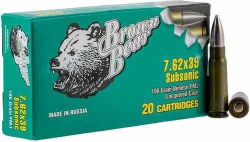 Brown Bear Subsonic  7.62X39 196 Grain Full Metal Jacket (FMJ) 20 Rounds Ammunition