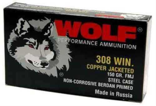 Wolf 308 Winchester Ammo 145 Grain FMJ 20 Rounds Per Box Md 308CFMJ