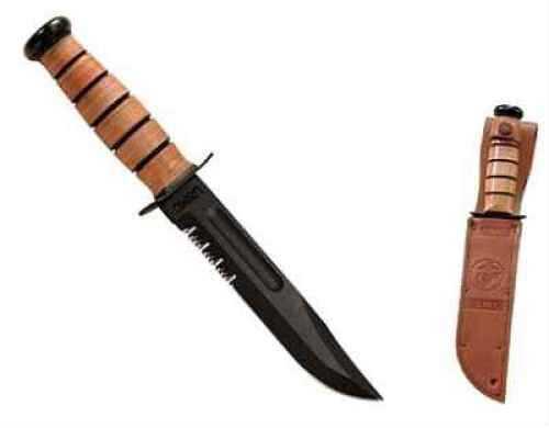 "Kabar 1218 USMC Fight 7"" 1095 CroVan Serrated Leather Handle & Sheath"