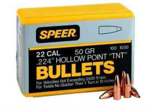 Speer 22 Caliber .224 50 Grains Spitzer SP Per 100 Md: 1029 Bullets