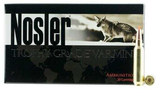 22 Nosler Trophy Grade Ammunition, 55gr, Ballistic Tip Varmint Spitzer, Per 20 Md: 60015