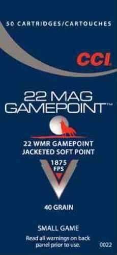 CCI Hunting 22WMR 40 Grain Gamepoint 50 2000 22