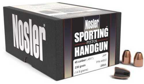 Nosler 45 Caliber 185 Grains JHP Handgun Bullets Per 250 Md: 44847
