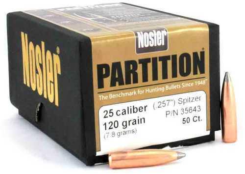 Nosler 257 Caliber 120 Grains Spitzer Partition Per 50 Md: 35643 Bullets