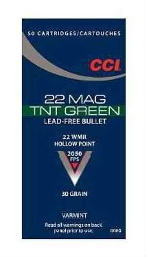 CCI TNT Green 22WMR 30 Grain Jacketed Hollow Point Lead Free per 50