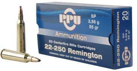 Prvi Partizan Ammunition 22-250 Remington 55 Grains Soft Point 20 Box