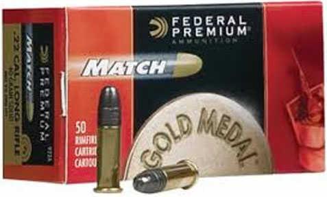 Federal Premium Gold Medal Match 22 LR 40 Grain Solid Ammunition 50 Rounds Per Box Md: 922A