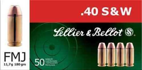 Sellier & Bellot 40 Smith & Wesson FMJ 180 Grain 50 per Box Ammo