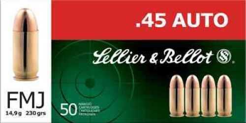 Sellier & Bellot 45 ACP 230 Grain FMJ Ammunition 50 Rounds Per Box