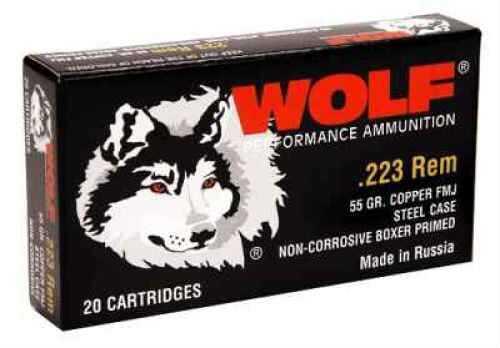 Wolf 223 Remington 55 Grain Bimetal Full Metal Jacket Case Of 500 Rounds Ammunition Md: 22355