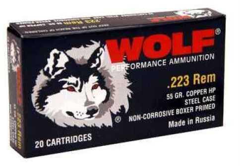 Wolf 223 Remington 55 Grain Copper Hollow Point Ammunition 500 rounds Md: 22355HP