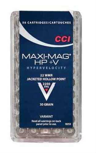 22 Winchester Magnum Rimfire By CCI 22 WMR HP Maxi Mag +V Per 50 Ammunition Md: 0059