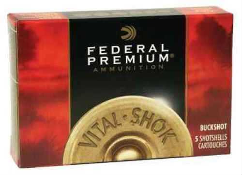 "Federal 12 Gauge Premium Buckshot Loads 3"" Mag Dram 41 Pellets 4 Buck Per 5 Ammunition Md: P1584B"