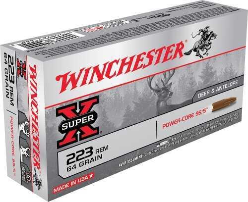 Winchester Ammo X223LF Super X 223 Rem/5.56 Nato Power Core 95/5 64 Grain 20Box/10Case