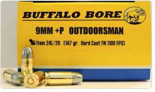 Buffalo Bore Outdoorsman 9mm +P 147 Grain Hard Cast Flat Nose Ammunition, 20 Rounds Per Box