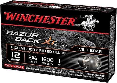 "Winchester Ammunition Razorback XT 12 Gauge 2.75"" 1 oz. Slug 5 Round Box S12RBSS"