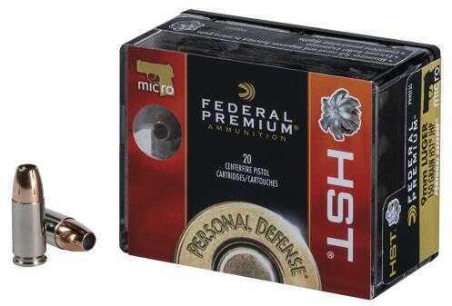 Federal Premium 9mm Luger 150 Grain HST Ammunition, 20 Rounds Per Box Md: P9HST5S<