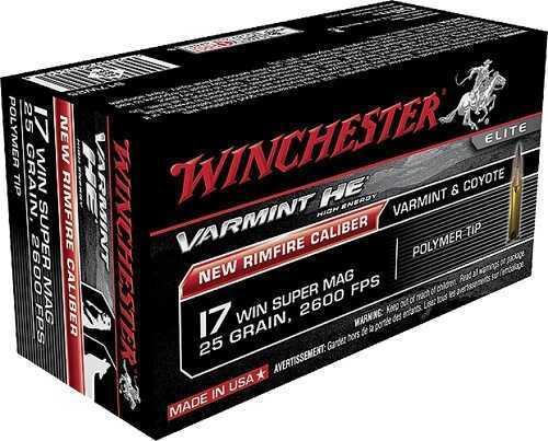 17 Winchester Super Mag 20 Grain V-Max 3000 Fps 50 Rounds Ammunition S17W20
