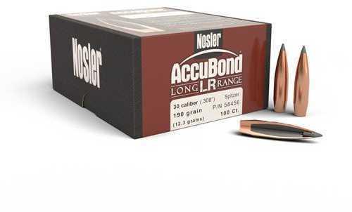 Nosler Accubond 30 Caliber 190 Grain Spitzer Point Long Range Reloading Bullets, 100 Per Box Md: 58456