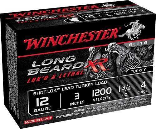 "Winchester Ammunition Long Beard XR 12 Gauge 3"" Chamber #4 1.75 oz Shotshell Shot-Lok with Plated Lead Shot STLB1234"