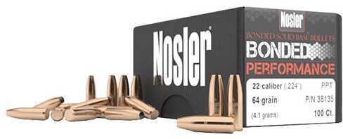 Nosler 38140 Bonded Performance 6.88mm 90GR Protected Point 100 Per Box Copper