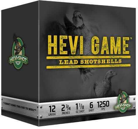 """Hevi Shot Hevi Game 12 Gauge 2.75"""" 1-1/8 Oz #6 Shot (Case Price) 91236"""