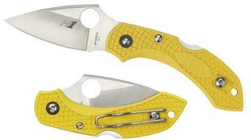 "Spyderco C28SYL2 Dragonfly II Salt 2.25"" H1 Steel Drop Point Fiberglass Reinforced Nylon Yellow Handle"