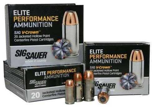 Sig Sauer Elite V-Crown Ammunition 45 ACP , 230 Grains, Jacketed Hollow Point, Per 20 Md: E45AP2-20