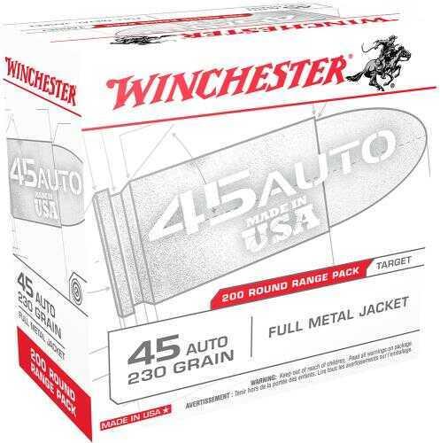 Winchester Ammo USA Centerfire 45 ACP 230 Grain FMJ 200 Box USA45W