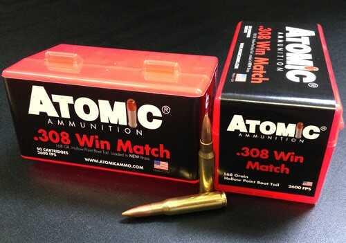 Atomic Ammo 308 Winchester Match 168 Grain Nosler BTHP 50-Pack