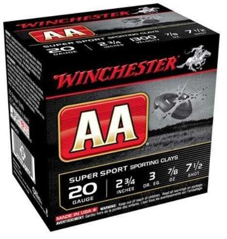 """Win Ammo AA Target 20 Gauge 2.75"""" 1300Fps. 7/8Oz. #7.5 25-Pack"""