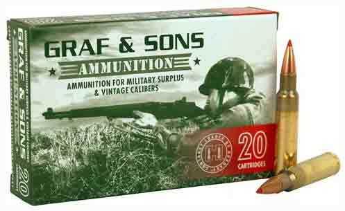 Hornady/Graf and Sons 6.5x54 Mannilcher 140 Grain Soft Point Ammunition, 20 Rounds Per Box Md: HRN80496