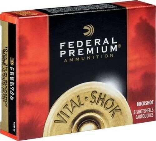 "Federal Cartridge 10 Gauge Premium Vital-Shok, 3 1/2"" Buffered, 00 Copper Plated Buckshot, Per 5 Md: P108F00"