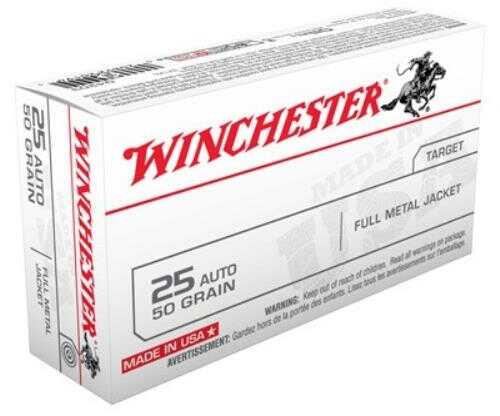Winchester Ammo USA 25ACP 50 Grain FMJ-RN 50-Pack