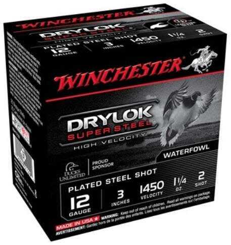"Winchester Ammo Ssh1232 Drylock Super Steel High Velocity 12 Gauge 3"" 1 1/4 Oz 2 Shot 25 Box"