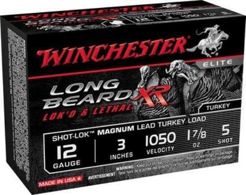 "Winchester Ammunition Long Beard XR 12 Gauge 3"" #5 1 1/78oz Shotshell Shot-Lok with Plated Lead Shot 10 Round Box STLB12"