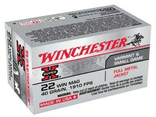Winchester SUPR-X 22 Mag 40 Grain FMJ 50/Bx