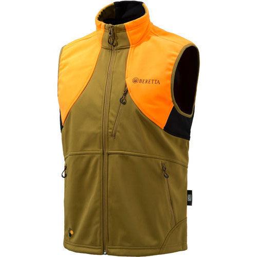 Beretta MEN'S Soft Shell FLECE Vest Medium Light Brown/Orange