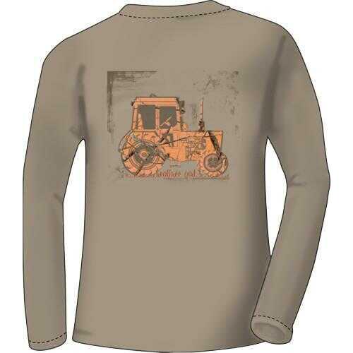 "Real tree WOMEN'S T-Shirt Long Sleeve Small ""Tractor"" Khaki<"
